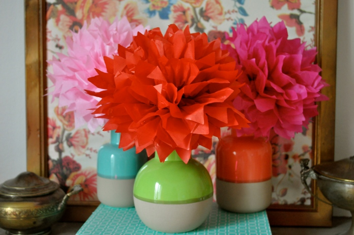 Bouquet de fleurs en papier pompons en papier de soie DIY Hema Marioninette.com